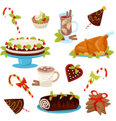 flat set of traditional christmas food and vector image