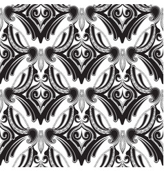 floral black and white paisley seamless pattern vector image