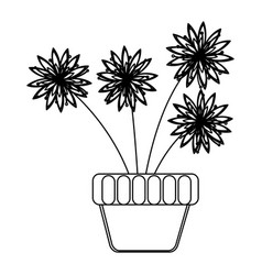 Flowerpot with flowers inside icon vector
