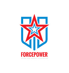 force power concept sign star shield and stripes vector image