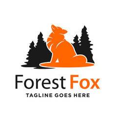 forest and mountain fox logo design template vector image