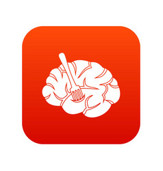 fork is inserted into the brain icon digital red vector image