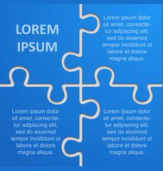 four pieces puzzle infographic 4 step puzzle vector image