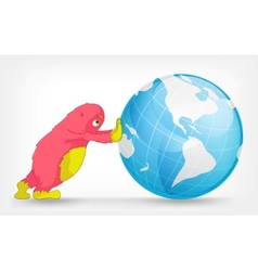 Funny Monster Globe vector image