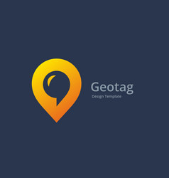Geotag with speech bubble or location pin logo vector