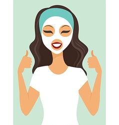 girl applying white beauty mask vector image