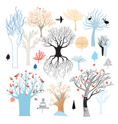 graphic set trees vector image