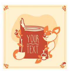 Greeting card template with cute fox vector
