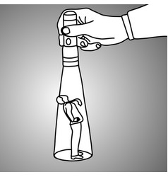 Hand holding a flashlight pointing at standing vector