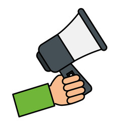 hand human with megaphone sound isolated icon vector image vector image