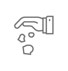 Hand throwing away garbage crumpled paper line vector