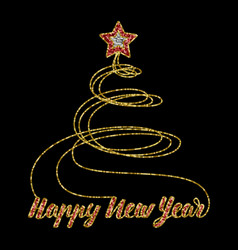 happy new year greeting card from sequins vector image