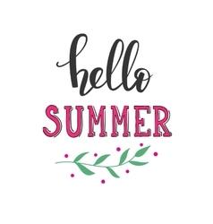 Hello summer lettering typography vector