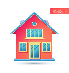 House facade building front view cottage concept vector