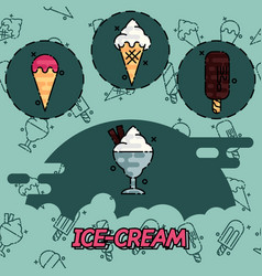 Ice-cream flat concept icons vector