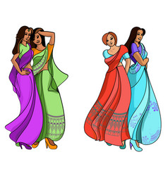 Indian fashion set vector