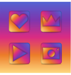 Instagram 3d icons concept square shape app vector