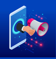 isometric promoter speaks in a big megaphone and vector image
