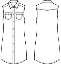 jean dress front and back vector image