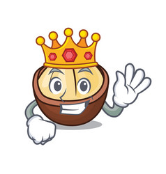 King macadamia mascot cartoon style vector
