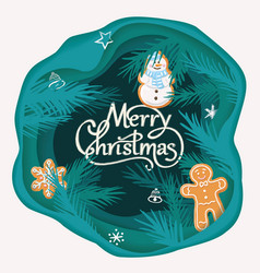 Layered cut out paper merry christmas card with vector