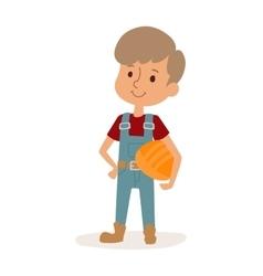 Little cartoon builder boy in uniform with tools vector