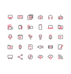 media outline icon set vector image