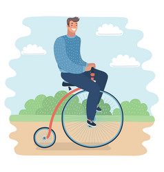 Men riding a penny-farthing bicycle in a park vector
