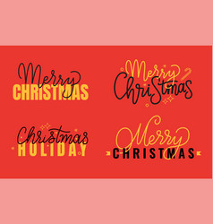 merry christmas xmas holiday inscription lettering vector image