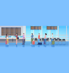 mix race travelers with baggage wearing masks vector image