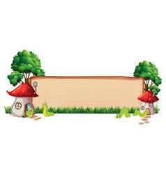 Mushroom house on wooden board vector