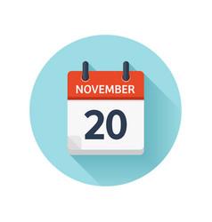 November 20 flat daily calendar icon date vector