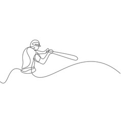 one single line drawing young energetic man vector image