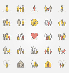 Parents and family colorful icons vector