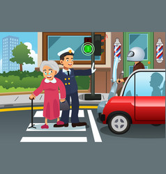 Policeman helping grandma crossing the street vector