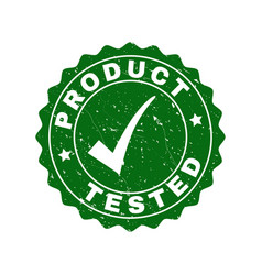 Product tested scratched stamp with tick vector