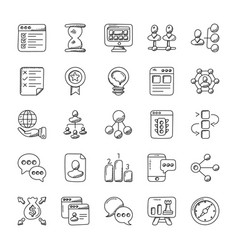 Project management doodle icons set vector