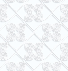 Quilling white paper circles with offset inside vector image