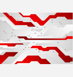 red and grey abstract technology background vector image