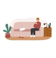 Relaxed man in warm sweater sitting on couch vector
