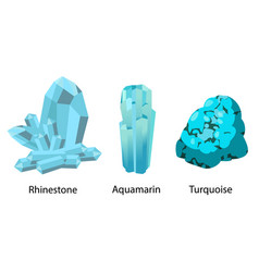 Rhinestone aquamarine turquoise valuable precious vector