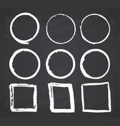 round frames and text boxes grunge textured hand vector image
