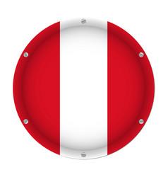 round metallic flag of peru with screws vector image