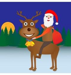 Santa Claus riding Reindeer vector