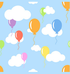 seamless pattern with clouds and different color vector image