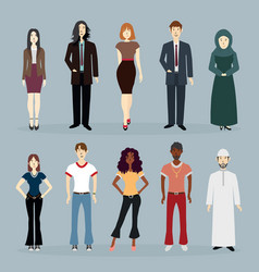 Set 90s themed people various races vector