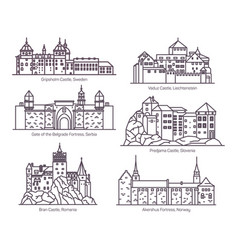 Set castles in thin line europea buildings vector