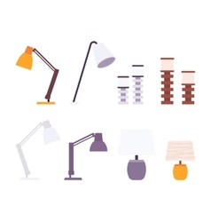 Set of desk lamps vector image