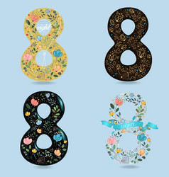 Set of folk floral numbers eight vector