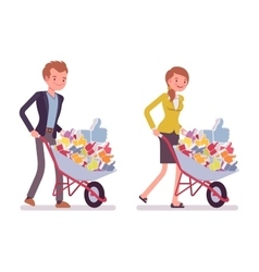 Set of office workers pushing a wheelbarrow with vector